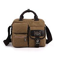 Unissex Bolsas Todas as Estações Couro Ecológico Lona Messenger Bag com Metálico para Casual Esportes Uso Profissional Preto Cinzento