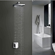 Contemporary Widespread Rain Shower with  Ceramic Valve Single Handle One Hole for  Nickel Brushed , Shower Faucet