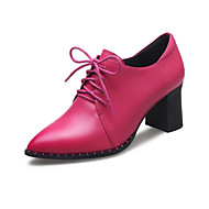 Women's Oxfords Spring Summer Fall Winter Cowhide Office & Career Dress Casual Chunky Heel Lace-up Black Red