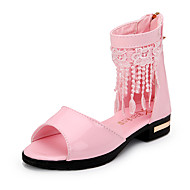 Girl's Sandals Spring Summer Fall Gladiator Flower Girl Shoes Leather Outdoor Athletic Casual Low Heel Tassel Black Pink White Walking
