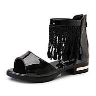 Sandály-Lakovaná kůže-Gladiátorské Flower Girl Boty Drobné Podpatky pro mládežČerná Růžová Bílá-Svatba Šaty Běžné-Nízký podpatek