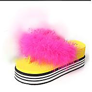 Slippers & Flip-Flops-Kleid Lässig-PU-Flacher Absatz-Komfort-Schwarz Gelb Rot Weiß