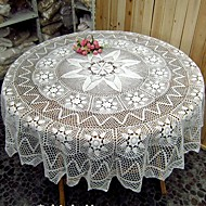 165cm(65 Inches) white Handmade Corcheted Round Tablecloth