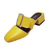 Women's Flats Spring Fall Comfort PU Casual Flat Heel Buckle Black Yellow Red Walking