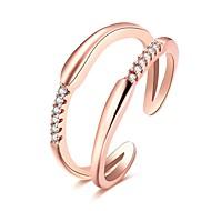 반지 일상 캐쥬얼 보석류 지르콘 구리 은 도금 로즈 골드 도금 새해 맞이 1PC,조절가능 실버 로즈 골드