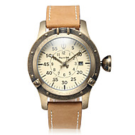 Men's Mechanical Watch Automatic self-winding Calendar Large Dial Genuine Leather Band Vintage Casual Beige Brown