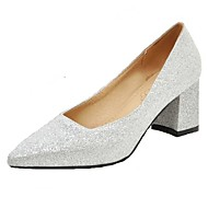 Women's Heels Spring Summer Fall PU Office & Career Dress Casual Chunky Heel Block Heel Gold Black Silver Red