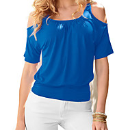 Women's Off The Shoulder Plus Size Going out Casual/Daily Sexy Street chic T-shirtSolid Round Neck Sleeve Blue Pink Purple Cotton