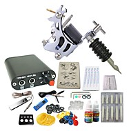 starter tattoo kits 1 steel machine liner & shader Mini power supply 10 x tattoo needle RL 3 Complete Kit