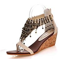 Women's Sandals Summer Club Shoes Leatherette Dress Casual Wedge Heel Zipper Chain Tassel Black Almond