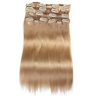 9pcs / set deluxe 120g klip na prodlužování vlasů béžové blond 16inch 20inch 100% rovné lidské vlasy pro ženy