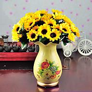 1 Gren Polyester Solsikker Bordblomst Kunstige blomster 7.5