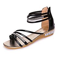 Damen-Sandalen-Outddor-PU-Flacher Absatz-Komfort-Schwarz Silber Gold