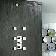Contemporary Shower System Waterfall Rain Shower Widespread with  Brass Valve Three Handles Five Holes for  Chrome , Shower Faucet