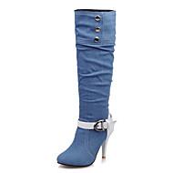 Γυναικεία παπούτσια-Μπότες-Γραφείο & Δουλειά Φόρεμα Πάρτι & Βραδινή Έξοδος-Τακούνι Στιλέτο-Άλλο-Ντένιμ-Μαύρο Κυανό Σκούρο μπλε