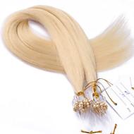 meilleure note 10a # 613 couleur des cheveux blanchiment micro perles anneau de boucle extensions de cheveux blonds 100grams droites
