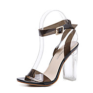 Women's Sandals Transparent Summer Other Rubber Dress Chunky Heel Others Black Pink Almond