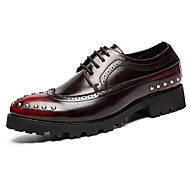 Men's Oxfords Spring Fall Comfort PU Outdoor Casual Flat Heel Beading Black Brown Red
