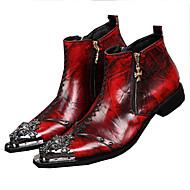 Bootsit-Tasapohja-Miesten-Nahka-Punainen-Häät Rento Juhlat-Comfort Uutuus
