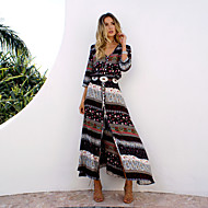 Women's Beach Holiday Boho A Line Dress,Print V Neck Maxi Long Sleeve Cotton Summer Inelastic