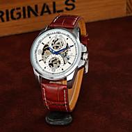 남성 스켈레톤 시계 패션 시계 기계식 시계 중공 판화 오토메틱 셀프-윈딩 PU 밴드 멋진 캐쥬얼 럭셔리 블랙 브라운