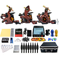 Complete Tattoo Kit 3 alloy machine liner & shader 3 Tattoo Machines LCD power supply Inks Shipped Separately