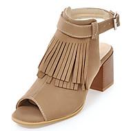 Women's Sandals Spring Summer Fall Gladiator Novelty Leatherette Outdoor Dress Casual Chunky Heel Buckle Tassel Black Beige
