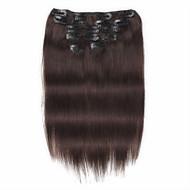 7 pcs / set grampo em extensões do cabelo 14inch 18inch 100% cabelo humano castanho escuro para as mulheres