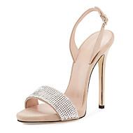 Hátsó pántos D'Orsay és kétrészes Club cipő-Stiletto-Női-Szandálok-Esküvői Ruha Party és Estélyi-Bőrutánzat-Fekete Bézs Piros