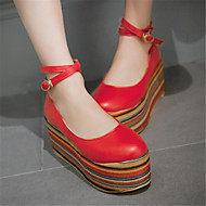 Dame-PU-Flat hæl-Komfort-Flate sko-Fritid-Hvit Rød