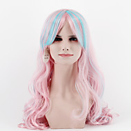 Women Synthetic Wigs New fashion Natural Wave Pink Long Hair With Blue Bangs Heat Friendly Fiber paryt wig For Halloween