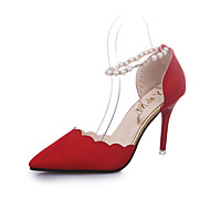 Women's Heels Summer Comfort Leatherette Office & Career Casual Stiletto Heel Pearl Buckle Walking