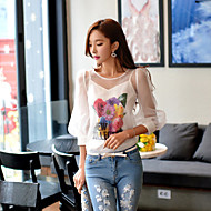 DABUWAWA Women's Going out Casual/Daily Holiday Cute Street chic Sophisticated Spring Summer ShirtFloral Letter Round Neck  SleevePolyester