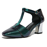 Feminino-Saltos-Sapatos clube-Salto Grosso-Verde-Couro Microfibra-Escritório & Trabalho Social Casual
