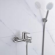 現代風 壁式 ハンドシャワーは含まれている with  セラミックバルブ シングルハンドル二つの穴 for  ブラッシュドニッケル , 浴槽用水栓