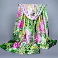 Women's Fashion Silk Polyester Cute Print Flowers Spring Summer Scarfs 165*50CM