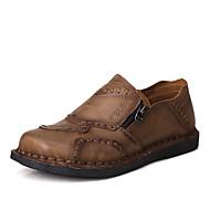 גברים נעלי אוקספורד נוחות עור אביב קיץ סתיו קזו'אל מסיבה וערב הליכה נוחות עקב שטוח חום שטוח
