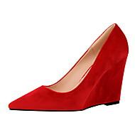 Femme-Habillé-Gris Rouge Vert Rose Bourgogne-Talon Compensé-Confort-Chaussures à Talons-Daim