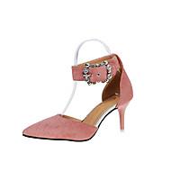 여성 샌들 클럽 신발 PU 봄 여름 드레스 파티/이브닝 클럽 신발 크리스탈 스틸레토 굽 블랙 핑크 밝은 브라운 7.5cm- 9.5cm