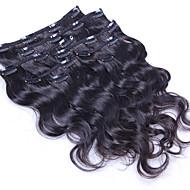 100% de clip d'onde naturelle du corps dans les extensions de cheveux humains pince à cheveux brésilienne dans le prolongement 8 pcs / set