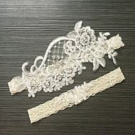 Garter Lace Tulle Flower Lace Ribbons Imitation Pearl Feather White