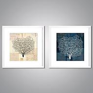 הדפסי בד ממוסגרים מופשט פרחוני/בוטני מסורתי ריאליסטי,שני פנלים בד מרובע תחריט דקור קיר For קישוט הבית