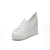 Damen-Loafers & Slip-Ons-Lässig-PU-Flacher Absatz-Creepers-Weiß Schwarz