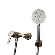 伝統風 アールデコ調/レトロ風 バスタブとシャワー ワイドspary with  セラミックバルブ シングルハンドル二つの穴 for  ステンレス , 浴槽用水栓