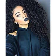 10-26 Inch Human Virgin Hair Natural Black Color Lace Front Wig Small Curly Hairstyle with Baby Hair