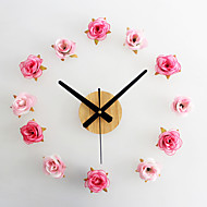 コンテンポラリー カジュアル フローラル 壁時計,ノベルティ柄 メタル ウッド ポリエステル 10*10 屋内/屋外 屋内 クロック