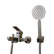 現代風 田舎風 近代の バスタブとシャワー ワイドspary 引出式スプレー with  セラミックバルブ シングルハンドル二つの穴 for  ステンレス , 浴槽用水栓