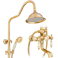 Country Art Deco/Retro Modern Shower Only Rotatable with  Ceramic Valve Two Handles Two Holes for  Ti-PVD , Shower Faucet