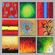 Pintados à mão Abstrato Quadrangular,Moderno Estilo Europeu Mais que 5 painéis Tela Pintura a Óleo For Decoração para casa