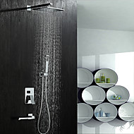 עכשווי מערכת למקלחת מקלחת גשם spary Wide שפורפרת יד כלולה with  שסתום קרמי שתי ידיות חמישה חורים for  כרום , ברז למקלחת